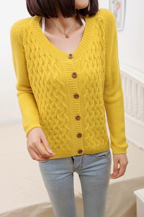 2014 Good Design Loose O Neck Long Sleeve Cardigan Sweater - Yellow