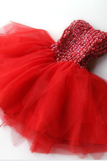 High Quality Red Short Chiffon Homecoming Dress Lace-Up With Rhinestone, Party Dresses, Red Lovely Party Dress