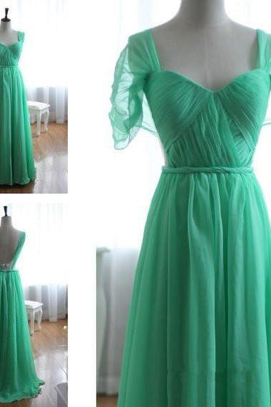 Pretty Sweetheart Backless Green Floor Length Chiffon Bridesmaid Dress, Burgundy Prom Dress 2015, Prom Dresses 2015, Formal Dresses