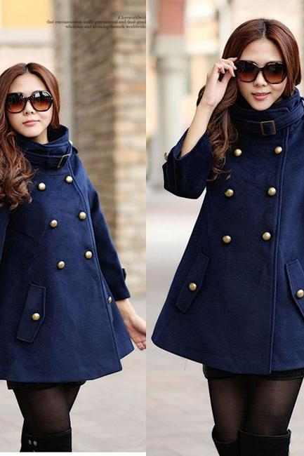 Stand Collar Double-breasted Cloak Coat