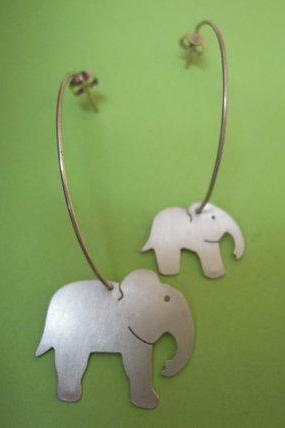Elephant Hoop Earrings