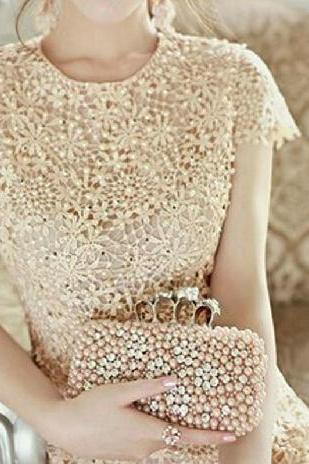 Beaded embroidery lace dress #WR102013JH