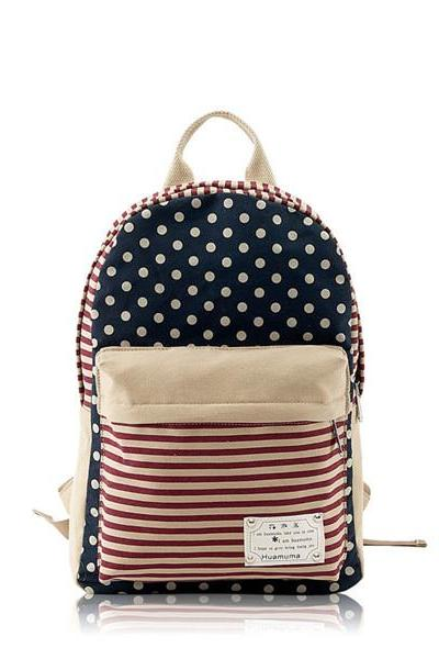 Backpack In Stripes And Dots Printed