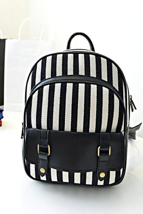 Fresh Navy With White Stripe Canvas Backpack