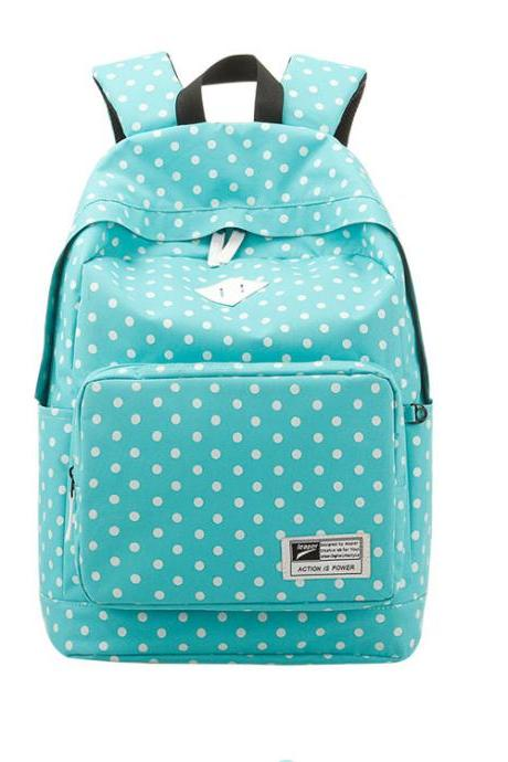 2015 Hot sale Nice Preppy Style Polka Dot Canvas Backpack for women-8758