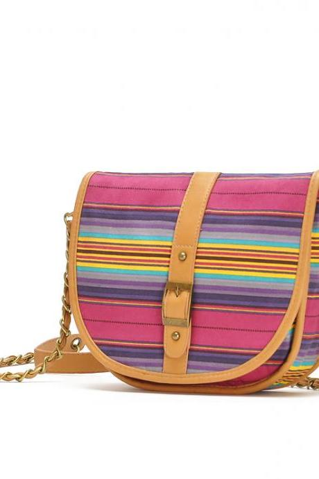 Women's Multi Color Stripes Across Body Bag With Chain Strap
