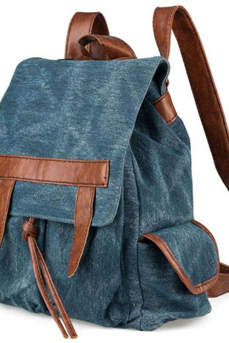 Denim With Leather Canvas Backpack