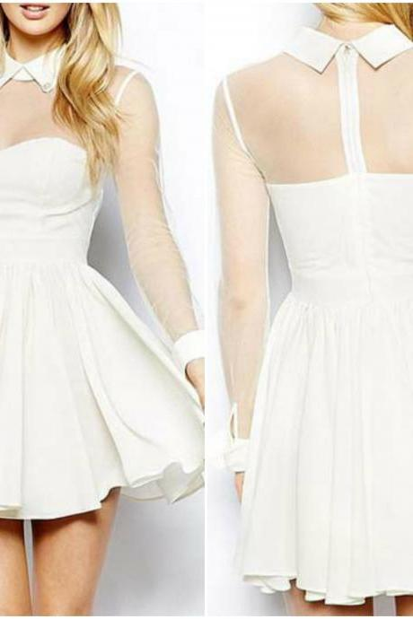 Chic White Chiffon Long Sleeve Skater Dress