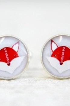 Fox Silver Cuff Links for Men or Women, Animal Cufflinks in Red Grey