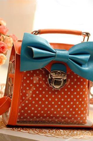 Candy Dot Print Bowknot Handbag Shoulder Bag - Orange