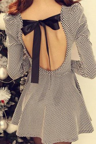Sexy Sweet Back Cutout Bowknot Plaid Dress