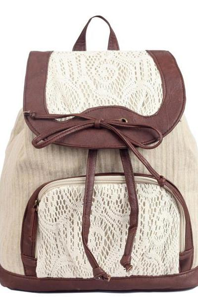 Bowknot Backpack With Lace Detail 0627018