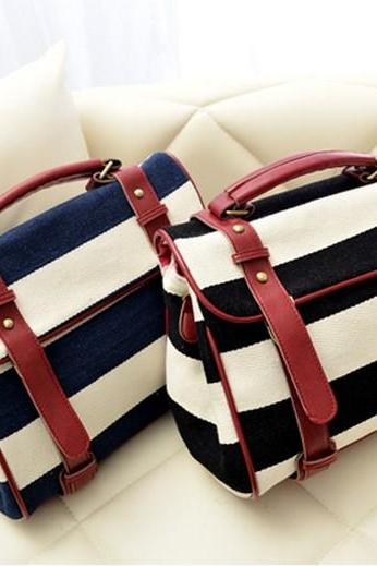 Retro Navy Striped Canvas Handbag & Shoulder Bag