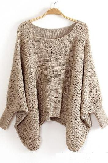 High Quality Loose Pattern Sweaters with Batwing Sleeve - Khaki