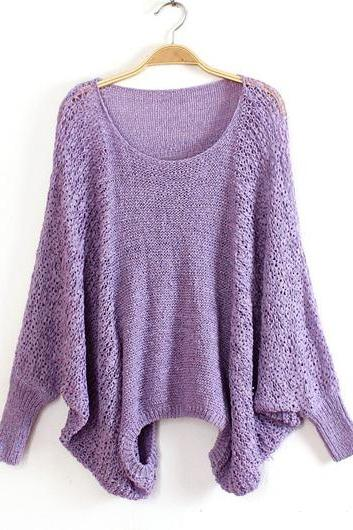 High Quality Loose Pattern Sweaters with Batwing Sleeve - Purple
