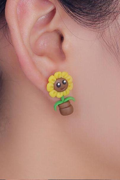 Polymer Clay Sunflower Earrings