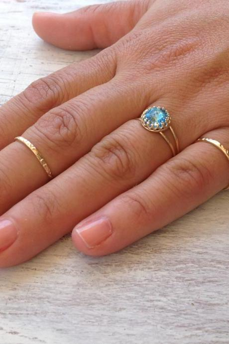 3 GOLD RINGS -Gold rings, aquamarine ring, cocktail ring, stacking rings, bridesmaids ring, romantic gold ring