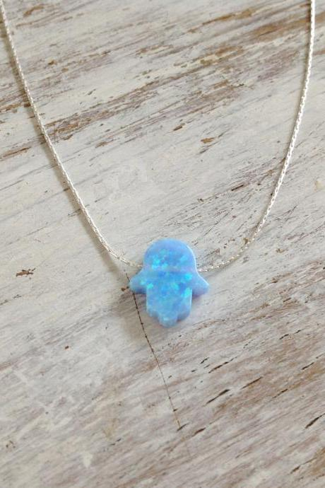 Hamsa necklace, silver necklace, opal hamsa necklace, turquoise necklace ,sterling silver , luck necklace, blue hamsa necklace -629
