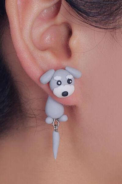 Polymer Clay Cute Dog Earrings