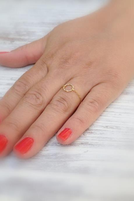 Gold ring, chain ring, circle ring ,14k gold filled, dainty ring, thin ring, any size, eternity gold ring -513