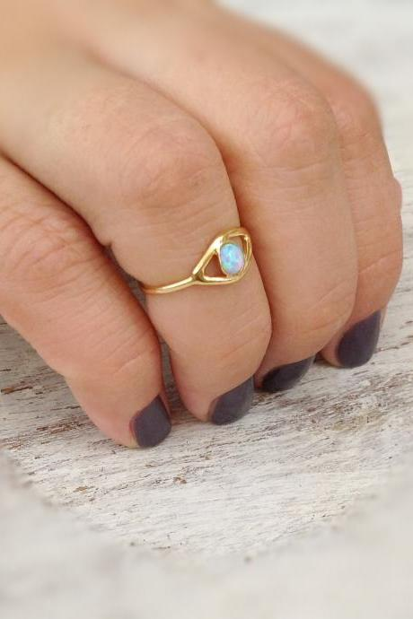 Evil eye ring, gold ring, stacking ring, eye, evil eye jewelry, opal stone -10028