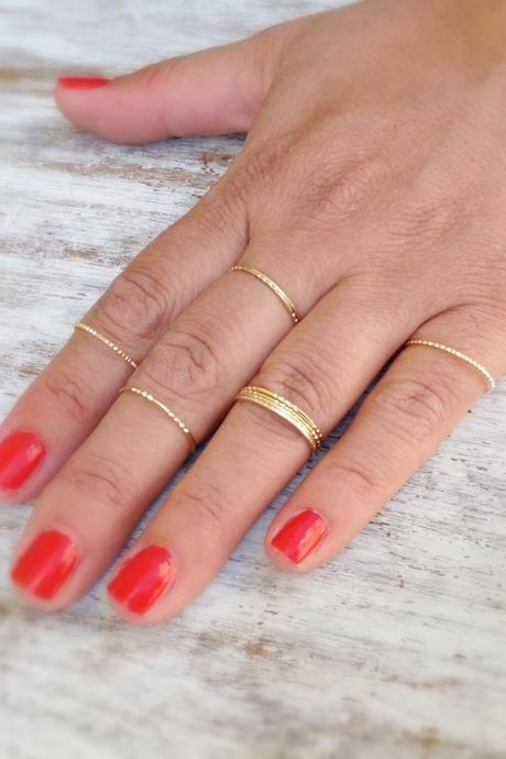 Special offer-5 Gold rings, Stacking ring, stacking gold rings, knuckle rings, thin ring, hammered ring, tiny ring- RR2