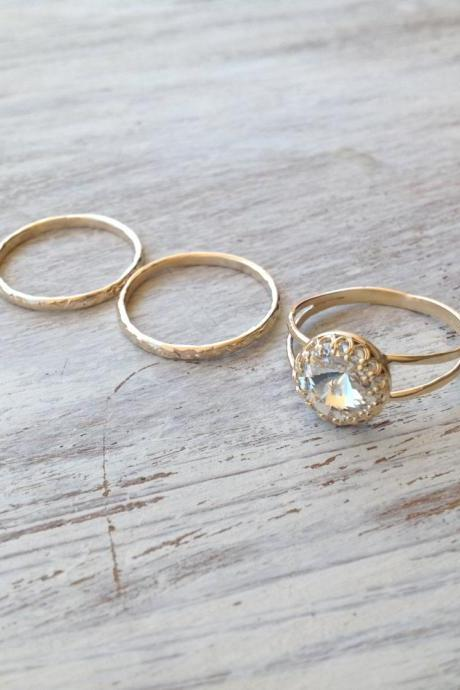 SET OF 3 RINGS - Gold ring, 3 stacking ring, vintage ring, gold rings, clear crystal ring, stack gold ring