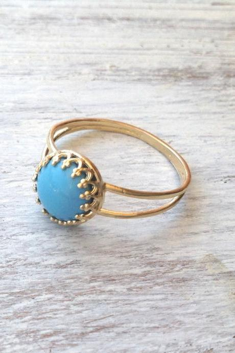 Gold ring, Turquoise ring, stacking ring, vintage ring, stack ring, stack gold ring, Blue ring, classic ring214