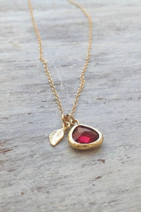 Gold necklace, Ruby necklace,red and gold, summer, gold filled, ruby blue glass pendant and tiny gold leaf - 7008