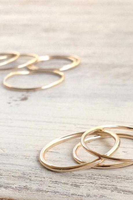 set of 4 rings, knuckle ring, stacking rings, thin ring, gold knuckle ring, simple ring, smooth ring RB11