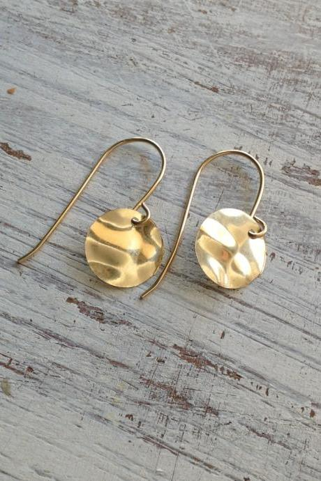 Gold earrings, dangle earrings, disc earrings, geometric earrings, gold filled earrings, simple earrings 20011