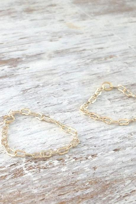 Gold ring, gold chain ring, knuckle ring, set of 2 rings, tiny ring, dainty ring, thin gold ring, any size, gold filled -10008