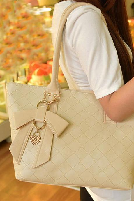 Fashion Simple Bowknot Quilted Handbag