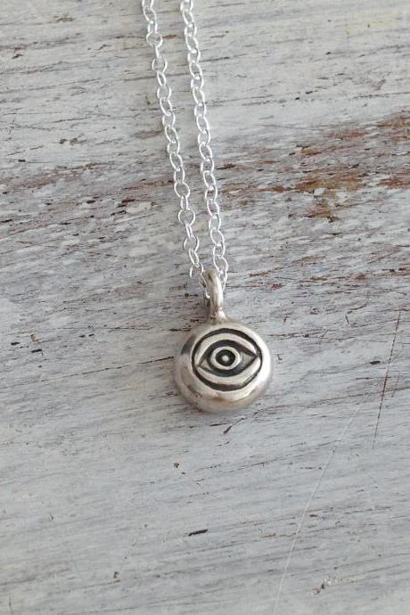 Evil eye necklace, sterling silver necklace, luck necklace, evil eye jewelry, eye necklace, tiny necklace 10002