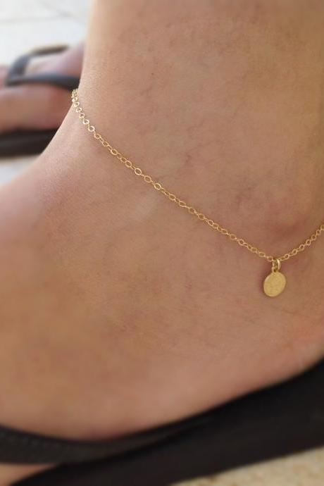 Gold anklet, gold coin anklet, summer anklet, simple anklet, basic anklet, everyday jewelry, anklet bracelet -10033