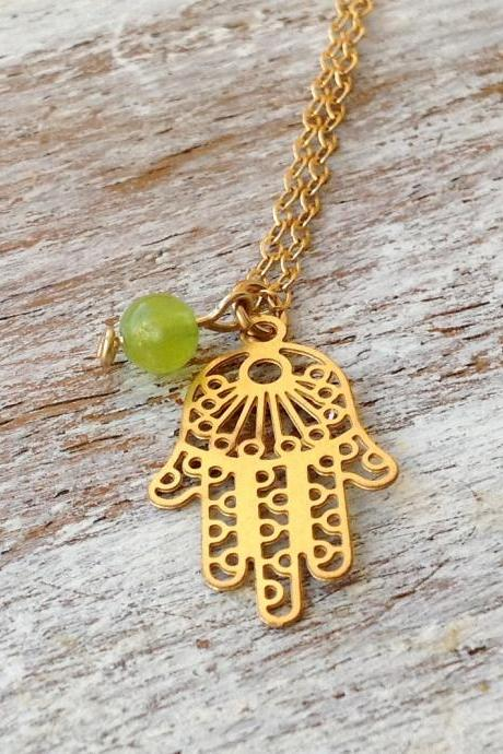 Hamsa necklace, gold necklace,gold hamsa necklace,birthstone necklace 10008