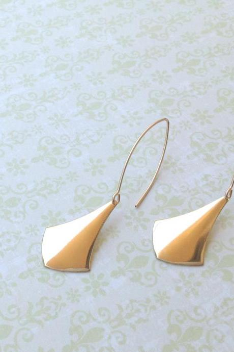 SALE- Gold earrings, dangle earrings, elegant earrings, geometric earrings, gold filled earrings, statement earrings 7002