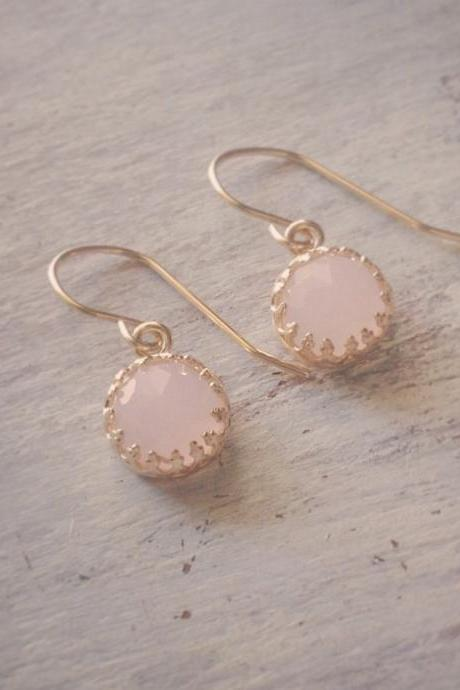 Goldfilled danle earrings with rose pink stone