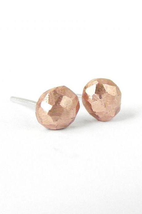 Tiny stud earrings. Recycled copper rough nuggets and sterling silver earposts