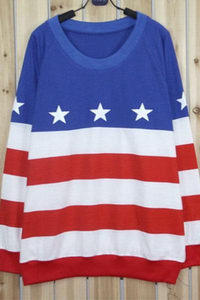 Retro American Flag Knit Sweater
