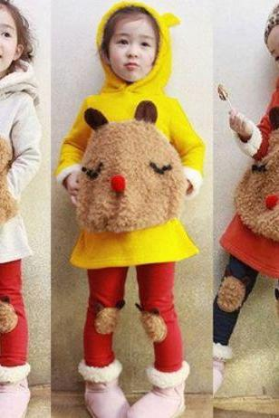 Ready to Ship Yellow Big Sheep Pocket Sweater for Girls with Matching Pant Leggings with Hood