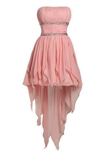 Lovely Pearl Pink A-line Strapless Mini Chiffon Asymmetrical 2015 Prom Dress, Short Prom dresses 2015, Graduation dresses, Pink Homecoming dresses