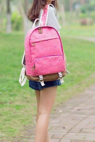 Cute Star Embroidered Leisure Canvas Backpack