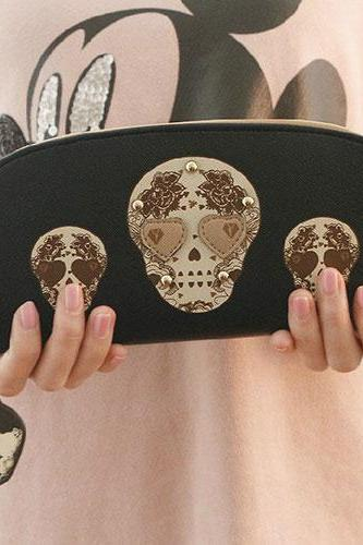 Stylish Love Heart Skull Head Pattern Rivets Clutch Wallet Purse Bag