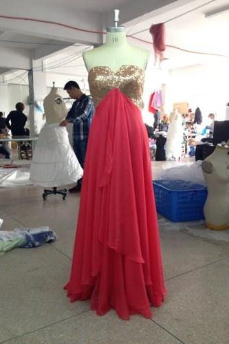 Graceful Watermelon Sequins Sweetheart Formal Layer Gown, New Style Prom Gown 2015, Party Dresses