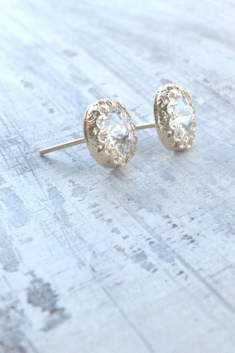 Gold earrings, crystal stud earrings, stud earrings, classic earrings, wedding earrings, Gold filled earrings 6100
