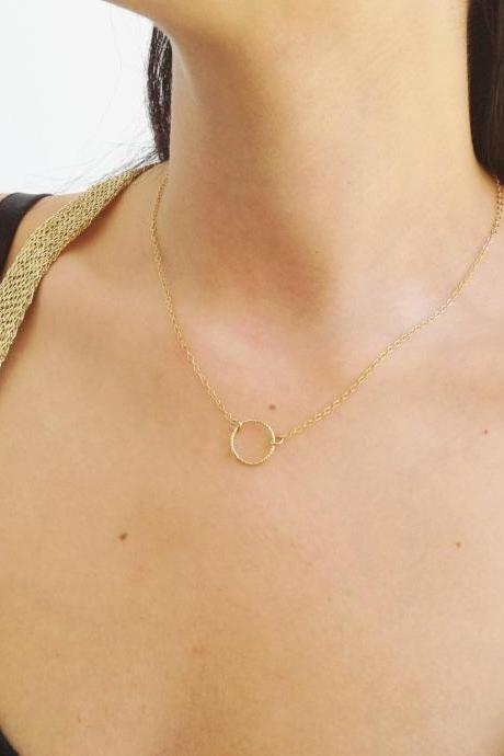 Gold necklace, circle necklace, everyday necklace, karma necklace, simple everyday necklace - 10050