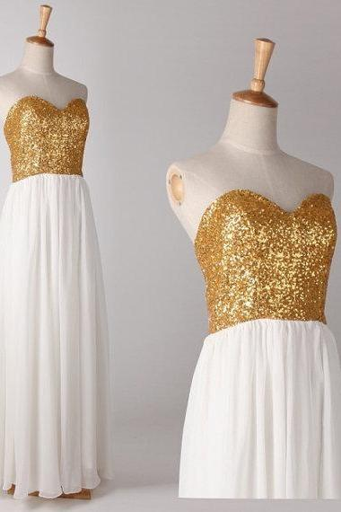 Charming Sweetheart Gold Sequins Chiffon 2015 Bridesmaid Dresses, Bridesmaid Dress, Prom Gown, Prom 2015