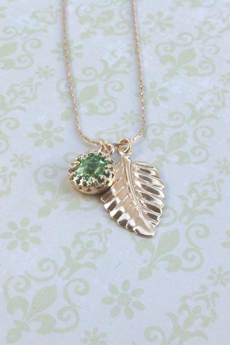 SALE-Gold necklace, classic jewelry, green necklace, dainty necklace, green and gold, summer, gold filled - 7005