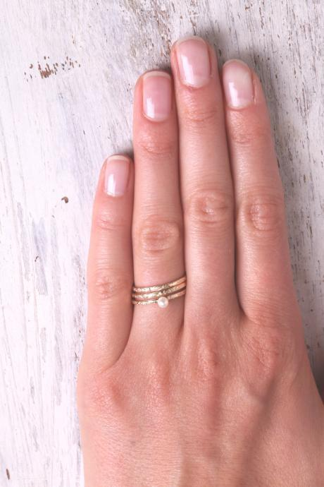Thin gold ring, stacking rings, set of gold rings, swarovsky stack ring, knuckle rings, hammered ring, tiny ring, gold knuckle rings -603